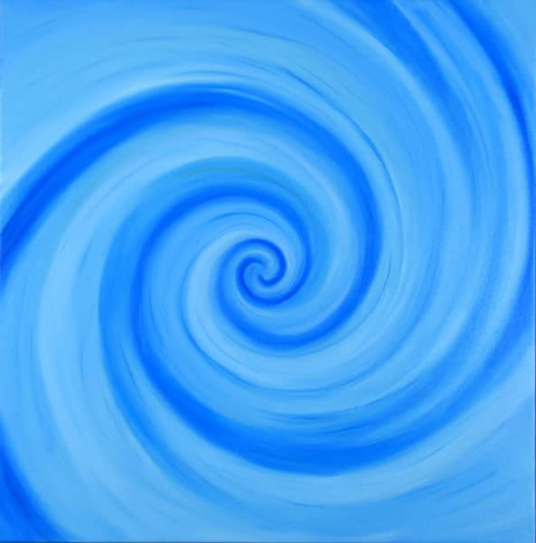 swirls of blue, a 13-armed fibonacci spiral in phtalo blue tones