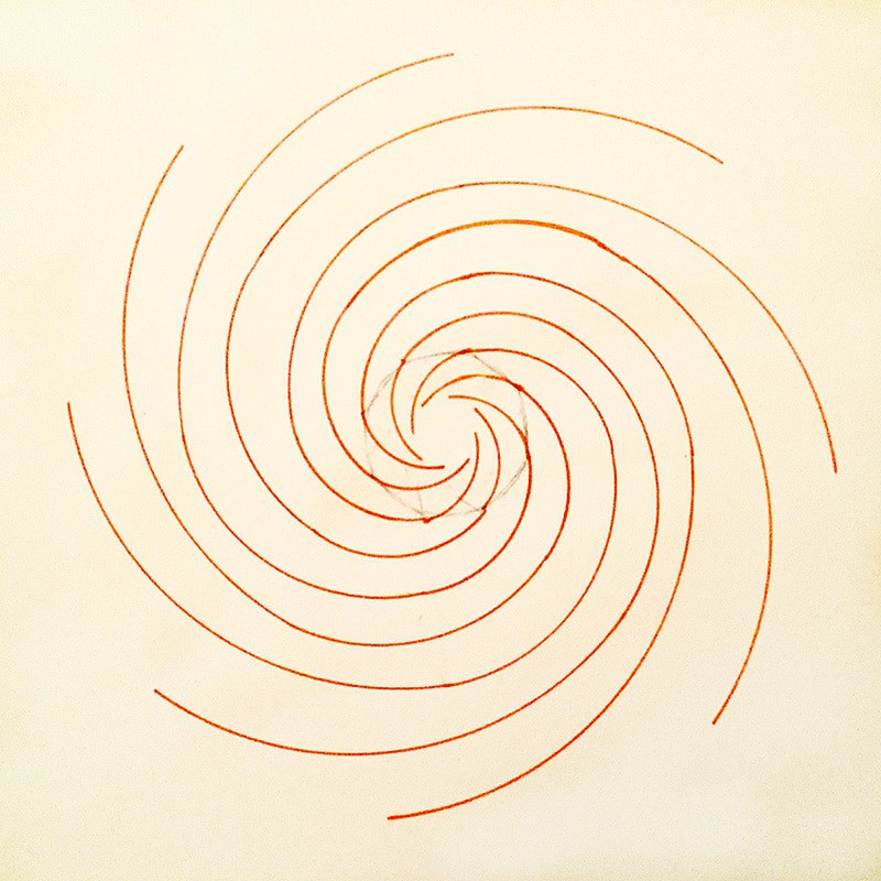eight armed Fibonacci Spiral in red