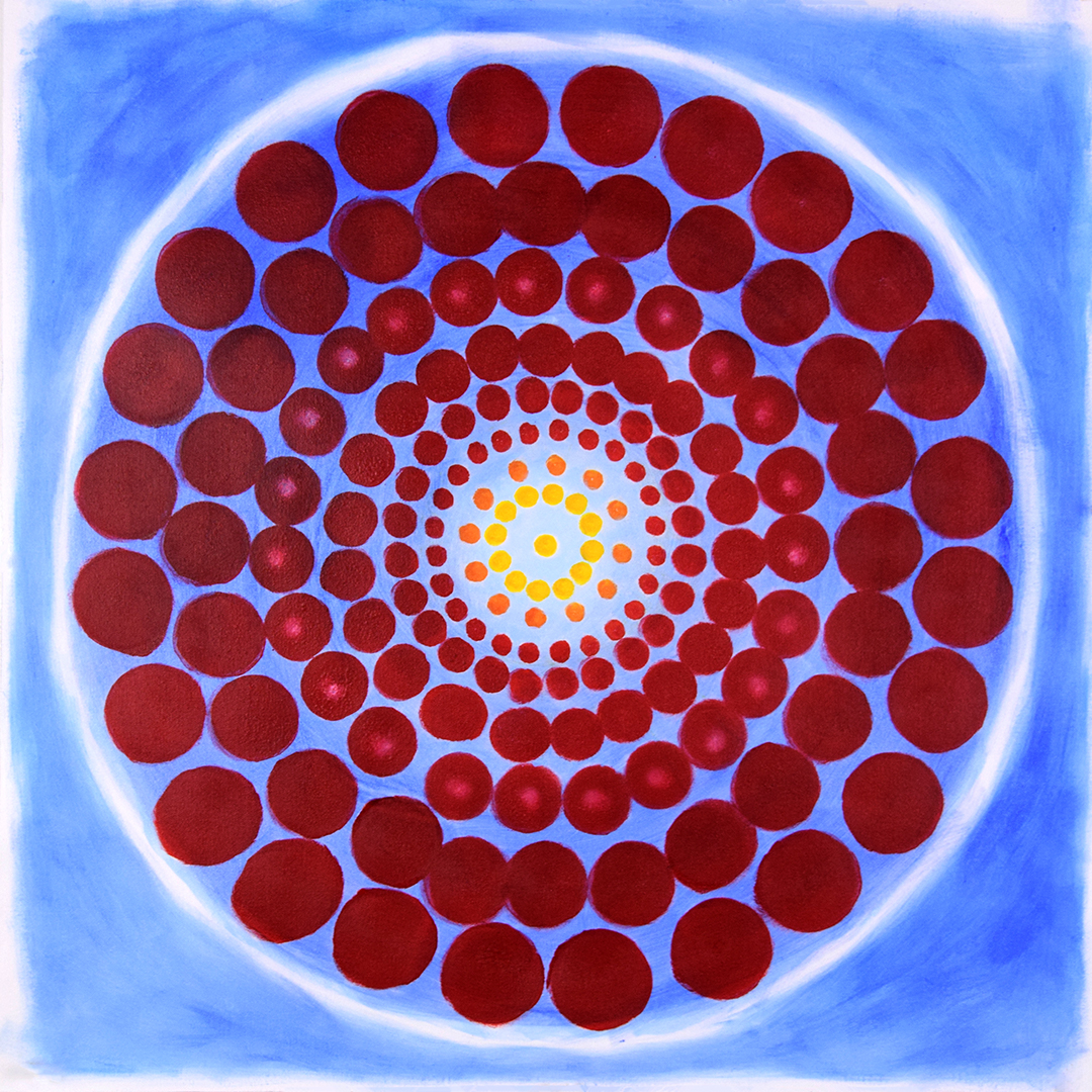 red circles arranged in concentric circles, radius increases by growth measure, projecctive geometry, acrylic on canvas, original art by JAO