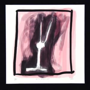 Fine Art Giclée print of drawing of a white rabbit with a pink and black background