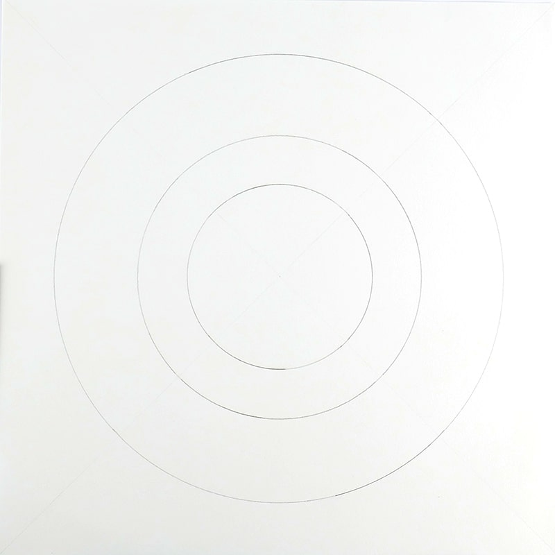 3 concentric circles, pencil on paper