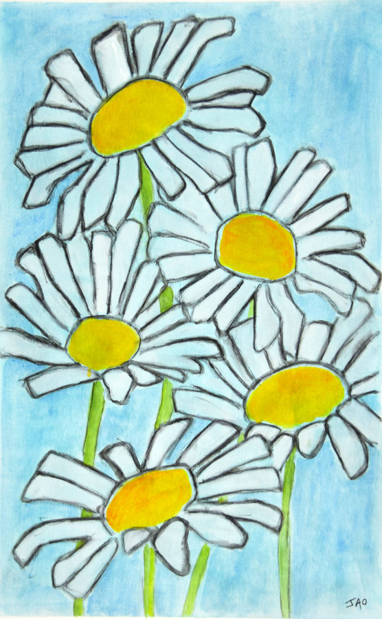 daisy painting on canvas, original art