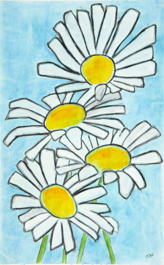 original art painting of daisys, watercolor on canvas