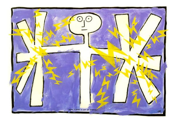 stylized figure with yellow lightening bolts emanating from outstretched hands. surprised look on face. purple background