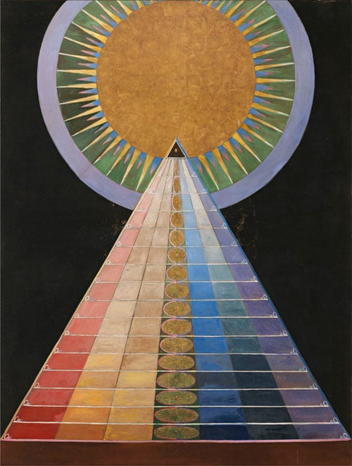 multicolored pyramid with sun like circle on top