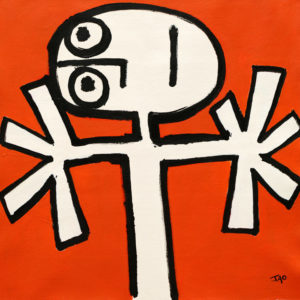 expressively stylized stick figure with thick black outline on a bright orange background. big hands reach out to the side, head tilted to the side, eyes look up