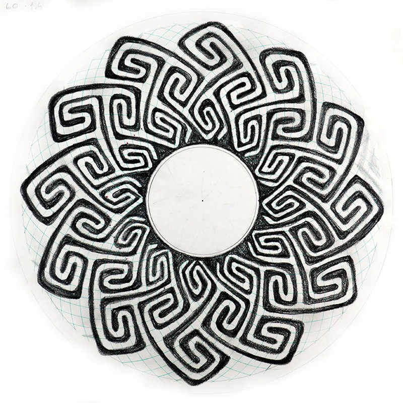 interlocking 'S' shapes celtic key pattern black and white