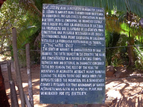 sign says the state of nayarit is characterized by heavy rainfall and this abundance of rainfall made this a special place