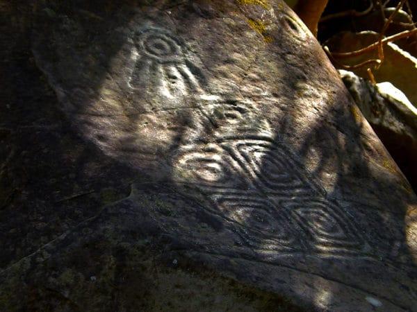 Petroglyph on rock in jungle