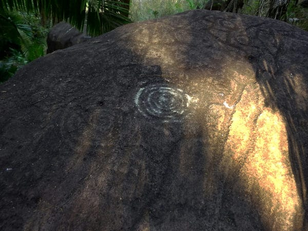 photo of petrogylphs on large boulder showing concentric circles