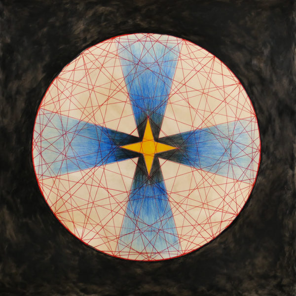 modular math circle with red lines, colored with pencil, mottled black oil backgroundd