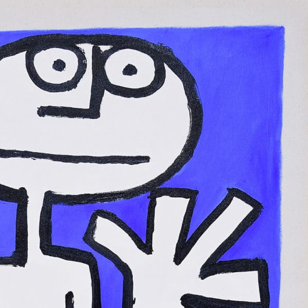 detail of modern primitive style painting showing face and one hand, ultramarine Blue background