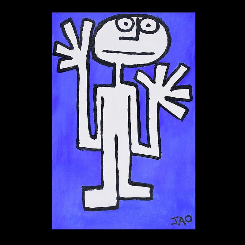 modern primitive style figure with big hands on ultramarine Blue background