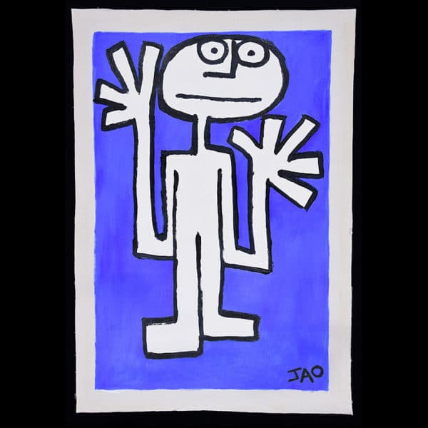 JAO Art Full size figure with large hands on ultramarine Blue background