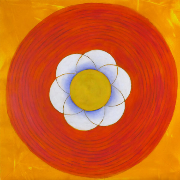 abstract painting with flower like center, pink concentric circles on yellow