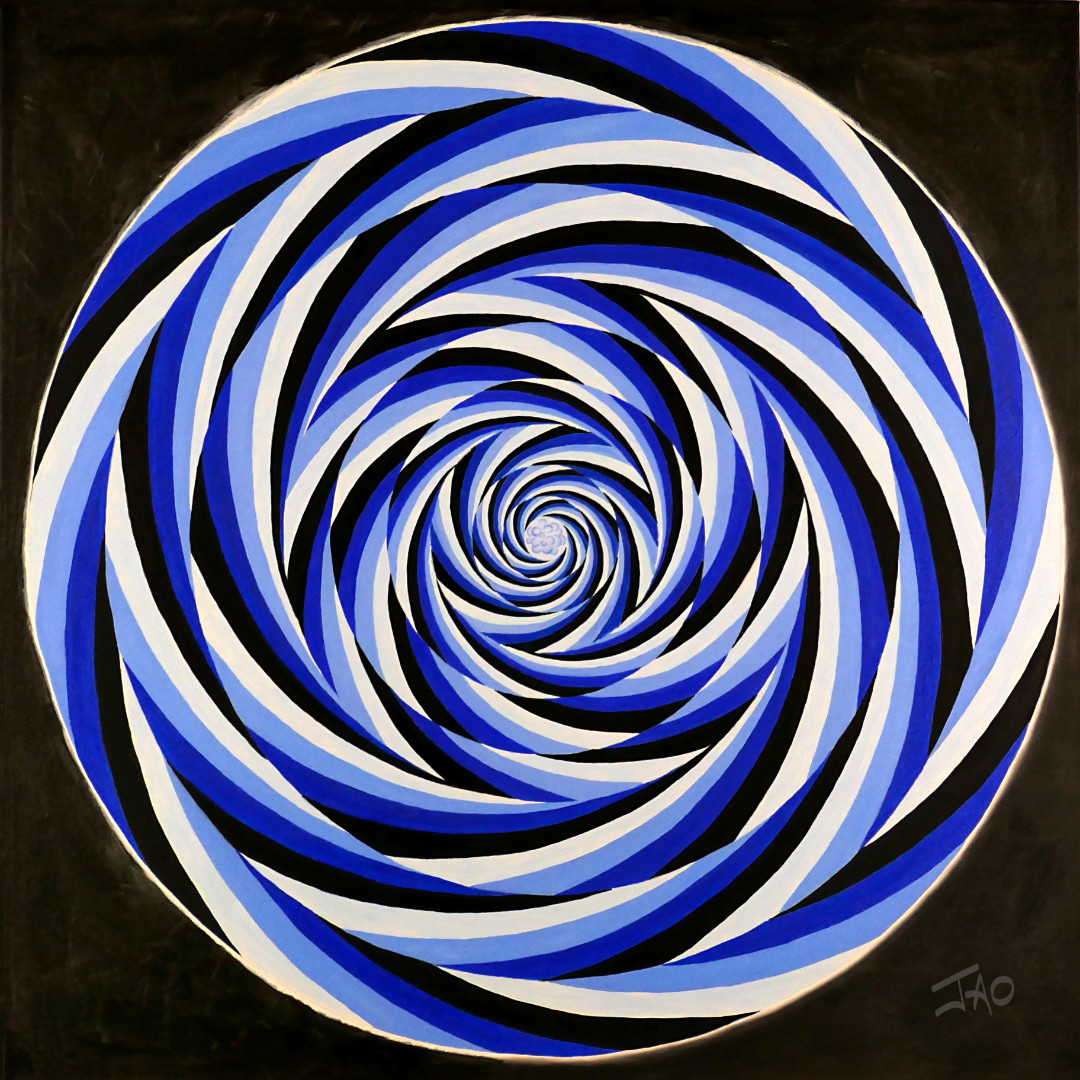 vortex with turbulence abstract fine art painting in blue optical illusion style