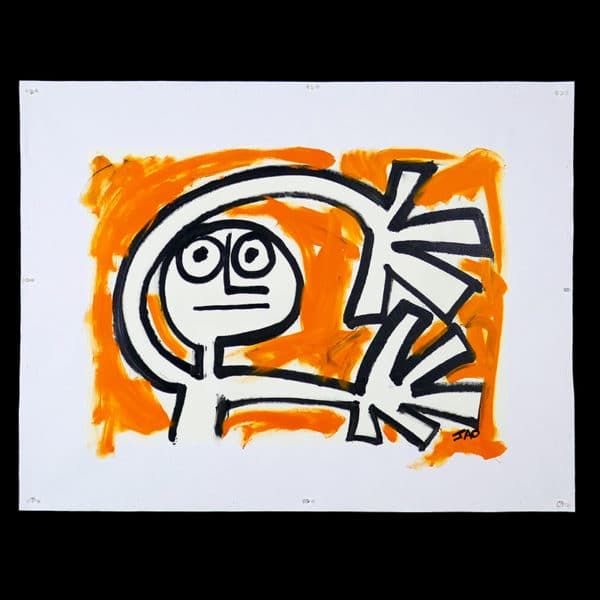expressive figure with orange background