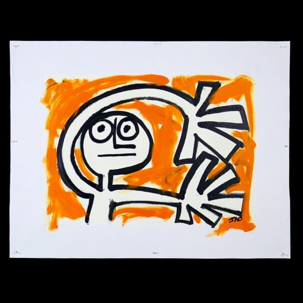 expressive figure with orange background