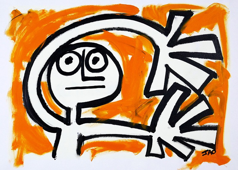 figure with arms flailing on orange background
