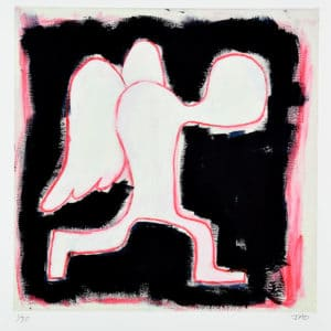 human figure with wings walking in a slouched forward position. figure is white outlined in red with a black background by Julie JAO