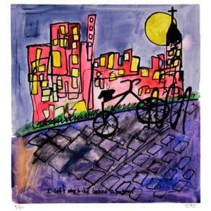 silhouette of black bike locked to bike rack on a purple cobblestone sidewalk, yellow moon behind a church steeple and red buildings, purple grey sky by JAO