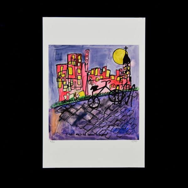 silhouette of black bike locked to bike rack on a purple cobblestone sidewalk, yellow moon behind a church steeple and red buildings, purple grey skey by JAO
