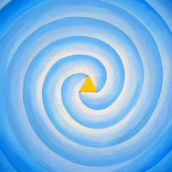 three armed Blue Spiral with yeloow triangle in the center