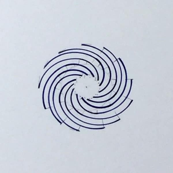 13-armed Fibonacci spiral in dark blue by Julie JAO