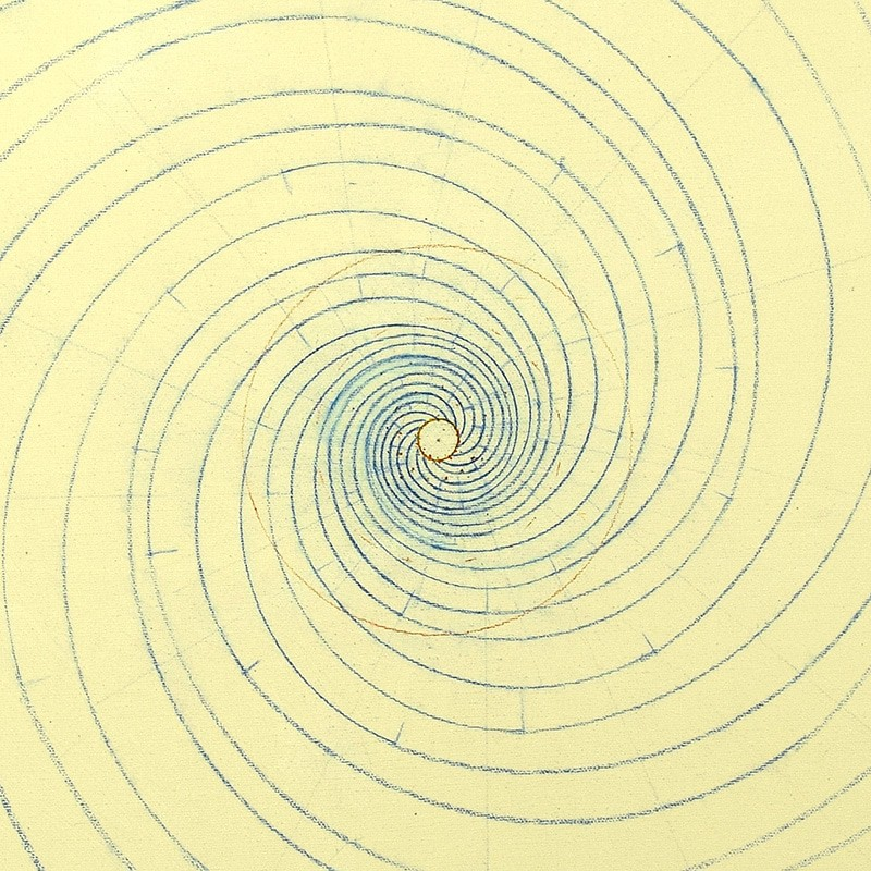 13-armed Fibonacci spiral in blue