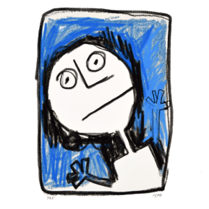 primitive stick figure style digital drawing on a blue background by JAO