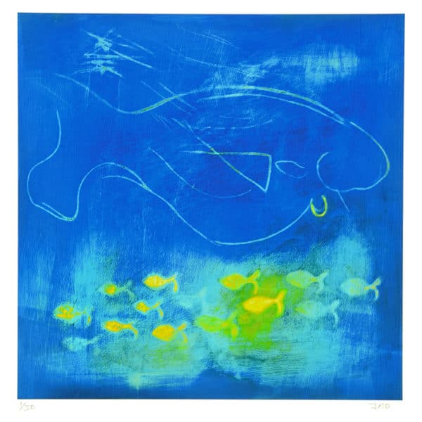 giclée print of large blue fish with small yellow fish swimming below