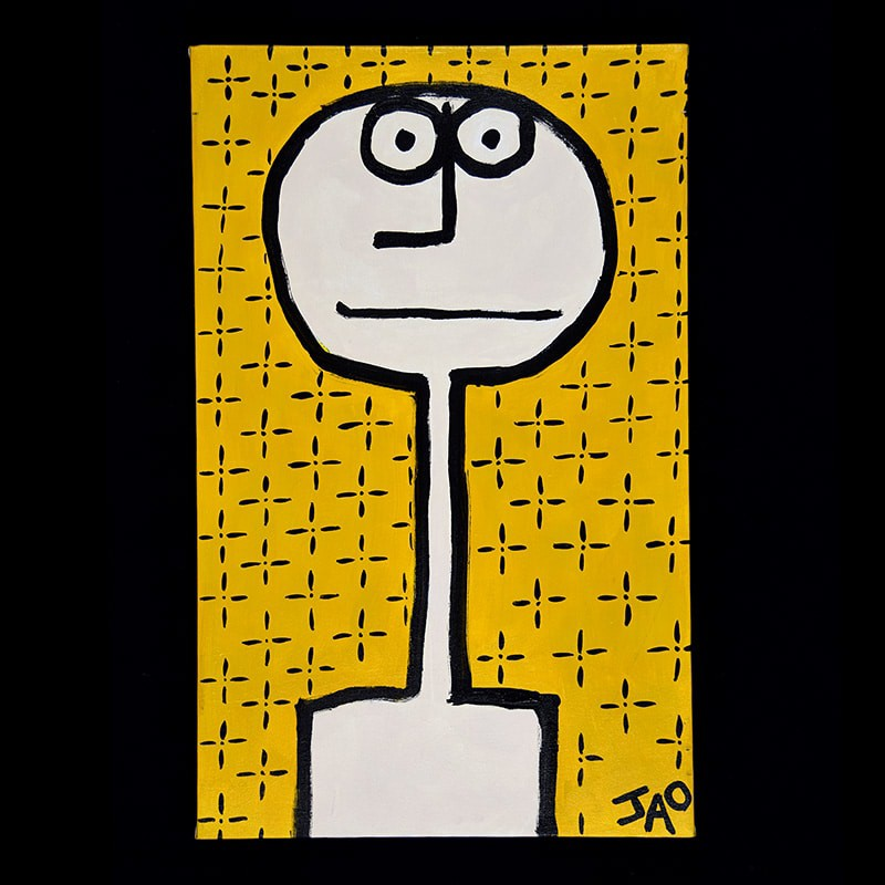 JAO Art painting on canvas, serious yet humorous face on a yellow background with flower-like pattern