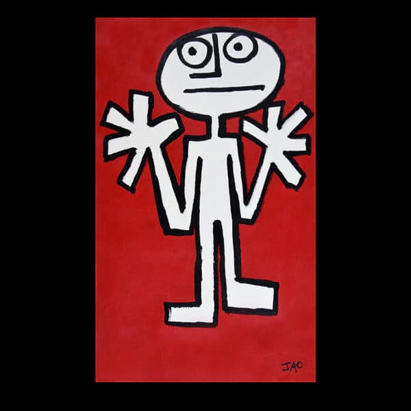 JAO Art simplified modern stick figure with large hands up on bright red background