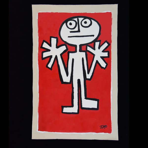 JAO Art Full size figure with both hands up on bright red background