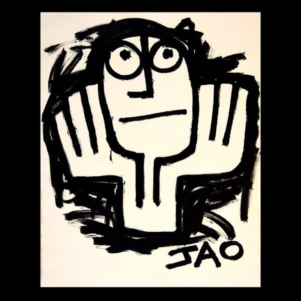 black and white figure with hands holding head, eyes looking up, primitive art style, with canvas border