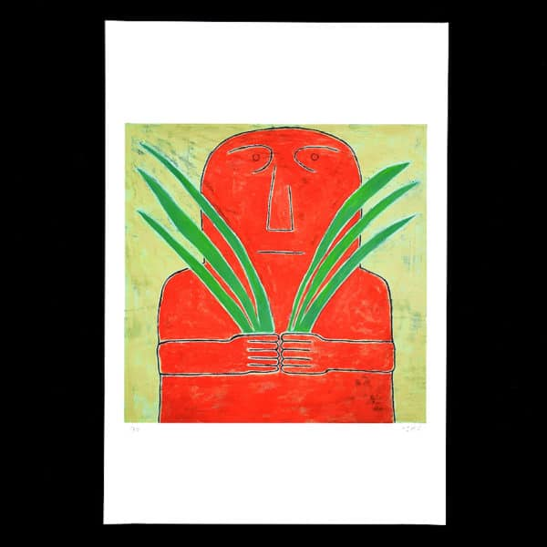 ancient art style figure in deep red-orange with large blades of green grass in hands on a textured light yellow background by JAO