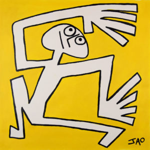 figure with large hands on yellow