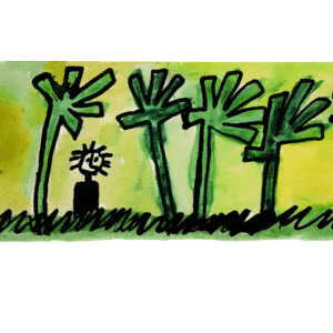 watercolor painting of a small childlike figure surrounded by stylized trees on a yellow background