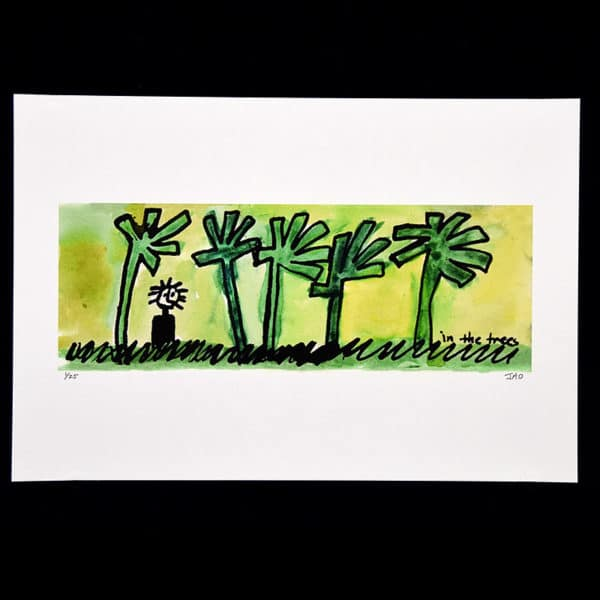 watercolor painting of a small childlike figure surrounded by stylized trees on a yellow background by Julie JAO