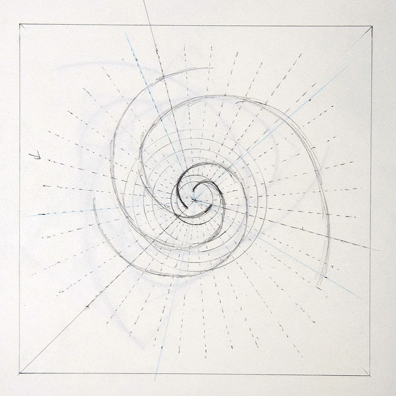 rough pencil drawing of a fibonacci spiral poorly executed